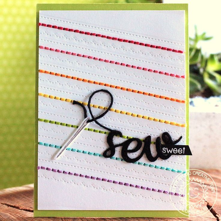 Sunny Studio Stamps Cute As A Button Stitched Rainbow Sew Sweet Card by Eloise Blue.  http://sunnystudiostamps.blogspot.com/2017/09/cute-as-button-rainbow-stitched-card.html