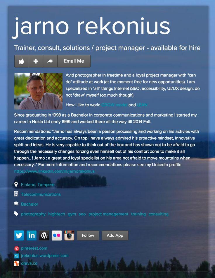 About me Jarno Rekonius #rekry http://about.me/rekoniusjarno  sähköposti: jarno(.)rekonius(at)hotmail(.)com