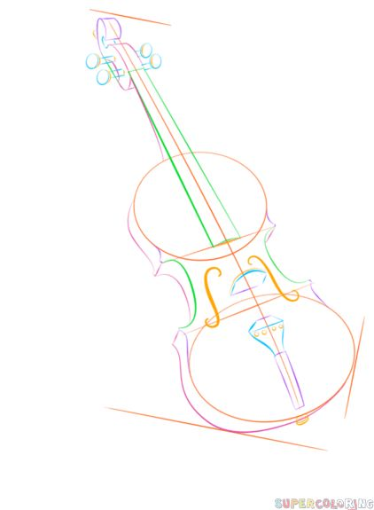 how to draw a violin and bow step by step drawing tutorials for kids and