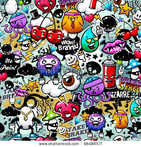 Simple Doodle Ideas | Vector Download » Graffiti seamless texture with bizarre elements and ...