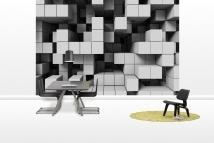 Deep Tetris - Light Grey - Fototapeter - Photowall