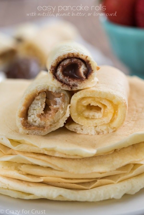 These Easy Pancake Rolls will satisfy everyone for breakfast. Choose from three fillings: Nutella, peanut butter, or lemon curd!