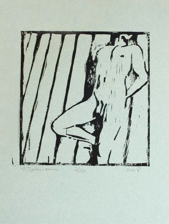 Original Nude Man Woodcut Nude Male Art by evartstudio on Etsy