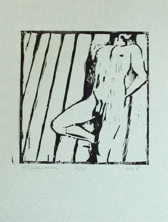 Original Nude Man Woodcut Nude Male Art by evartstudio on Etsy