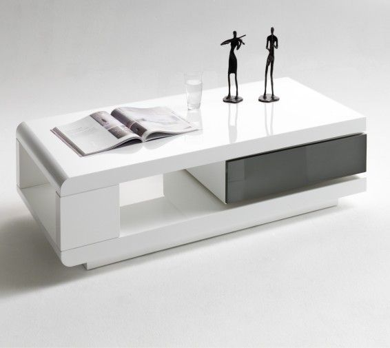 Ida Coffee Tables High Gloss White With Grey Pull Out Drawer furnitureinfashion.net £249.95