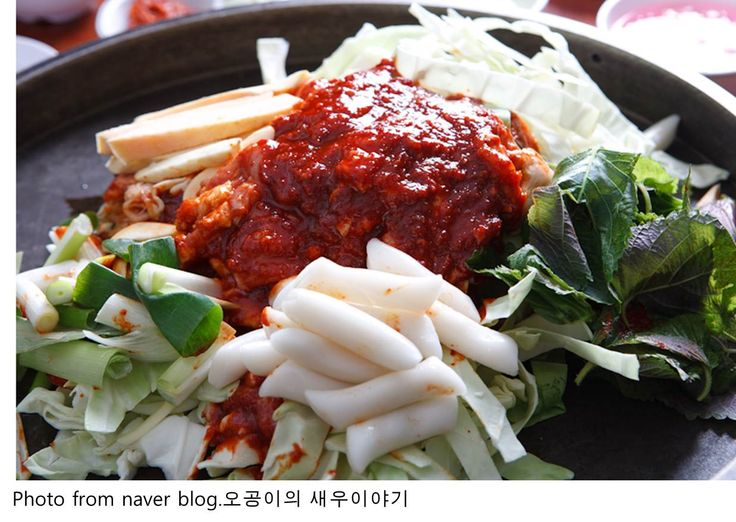 Chuncheon, Gangwon-do is known for two things: dakgalbi and makguksu. Dakgalbi started out as a dish of grilled chicken bits in an area where chicken was cheap. Today, dakgalbi is seasoned and deboned chicken stir-fried with sliced tteok, sweet potato, perilla leaves and cabbage.