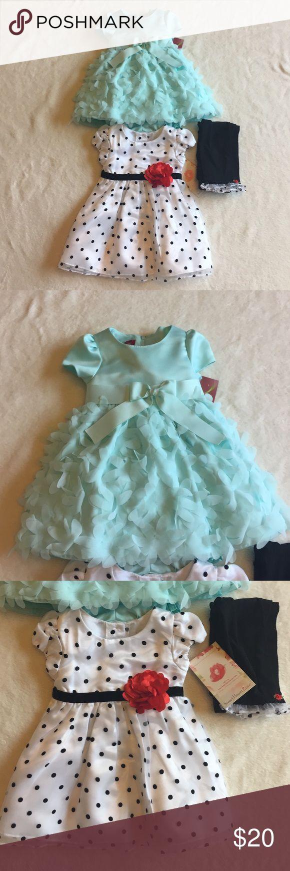 Baby Girl 9 & 12 month formal dress bundle NWT formal dress Bundle! The top teal dress is 9 months and bottom polka dot dress is 12 months. Perfect for a summer wedding! Sweet Heart Rose Dresses Formal