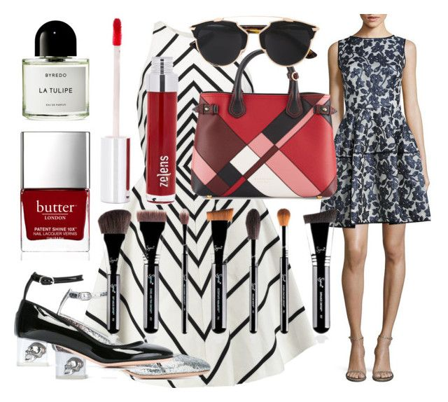 Caught Up in The Grid / Silver or Black by rhymingscapes on Polyvore featuring Halston Heritage, Oscar de la Renta, Alexander McQueen, Burberry, Christian Dior, Zelens, Byredo and Butter London