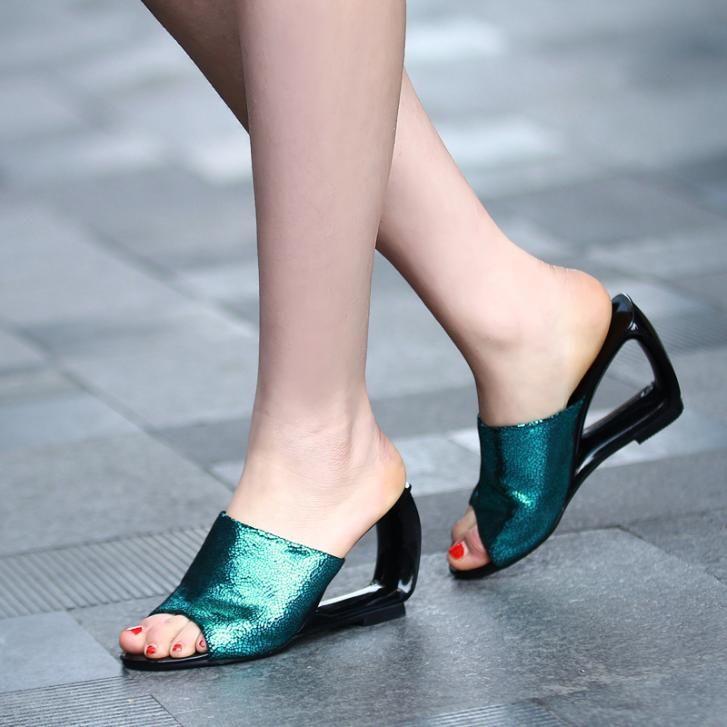 Ladies Summer Flat Sandals 2014 | 2014 summer new super flash Women flat sandals Roman shoes Office ...