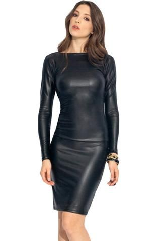 Midi Robes Reversible Faux Cuir Robe #robenoire hiver modebuy.com