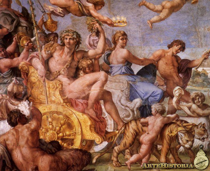 El triunfo de Baco y Ariadna fue pintado por Anibale Carraci en 1602 y es de estilo clasicista situado en el Barroco italiano. Esta obra representa una escena muy dinámica, con un fondo paisajístico y personajes en movimiento. Además, es una obra de gran contenido mitológico y está muy influenciada por el renacimiento. Se observa que no tiene nada que ver con el barroco, ya que está idealizada, no es una escena natural y real, y no tiene sombras y grandes contrastes de