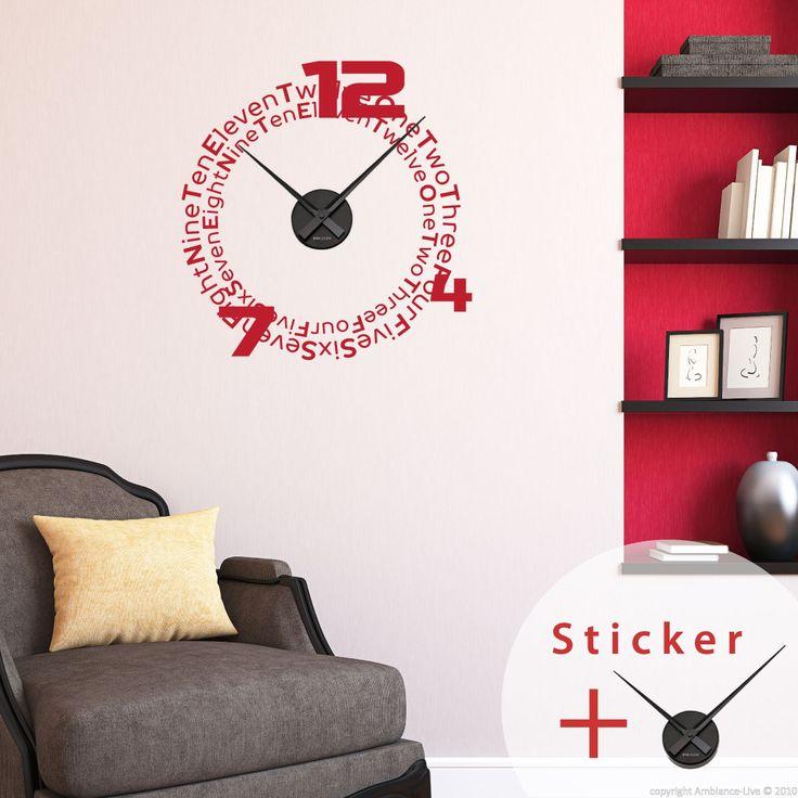 Sticker horloge Chiffres en Anglais - sticker STICKERS ORIGINAUX Stickers Horloges - Ambiance-sticker