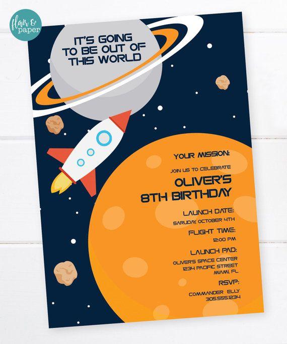 astronaut party invitations - 570×684
