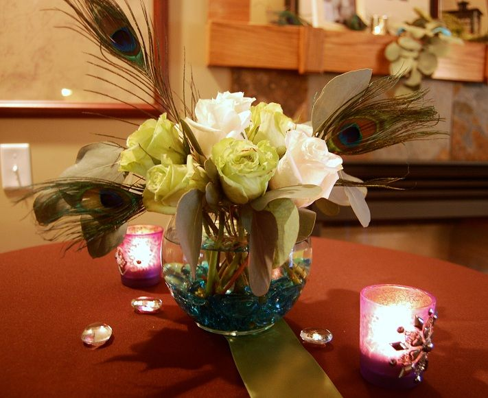 Simple peacock centerpieces my good friend deb who is a