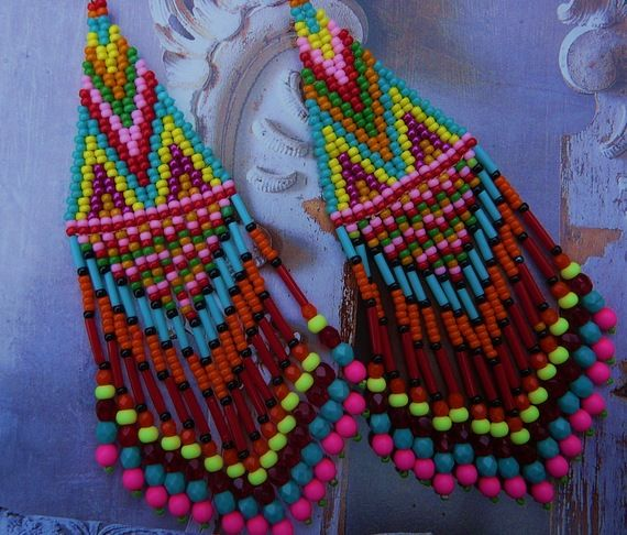 bright color brick stitch earrings - Indian Summer-ear loop creator