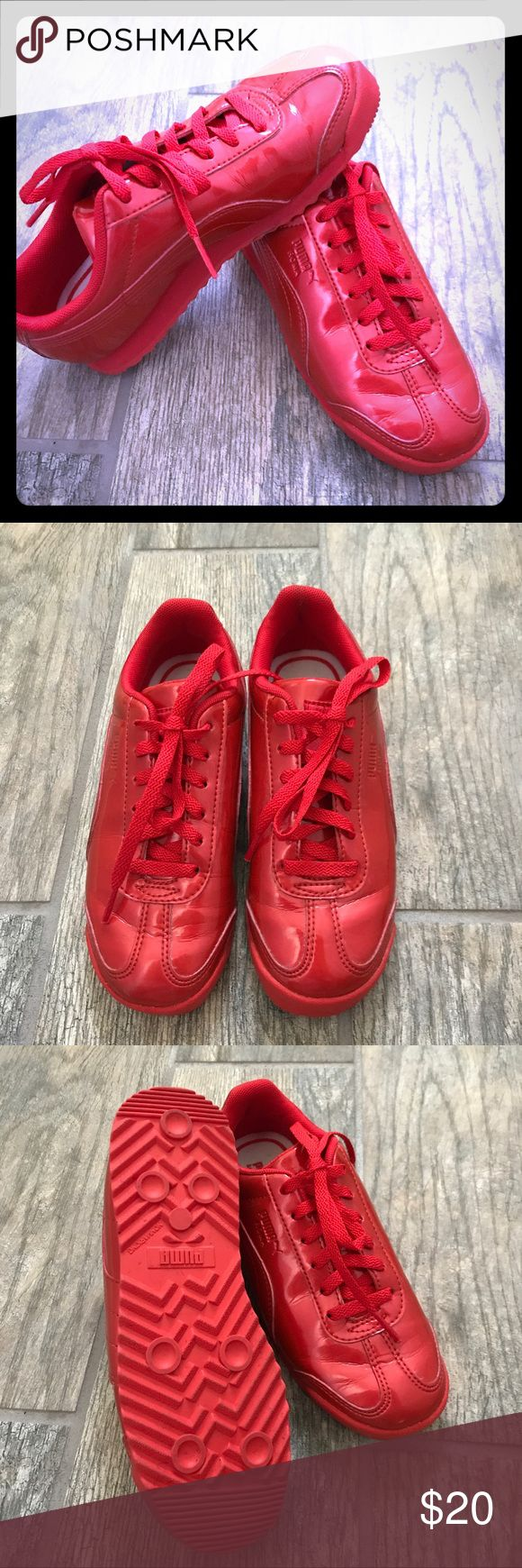 Selling this Like new Patent Red Puma shoes~ Children's on Poshmark! My username is: sapeterson13. #shopmycloset #poshmark #fashion #shopping #style #forsale #Puma #Other