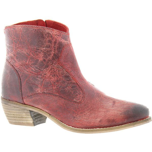 Diba True Plen Tee Women's Red Boot 8 M ($149) ❤ liked on Polyvore featuring shoes, boots, ankle booties, red, red boots, short boots, bootie boots, distressed leather booties and zipper ankle boots