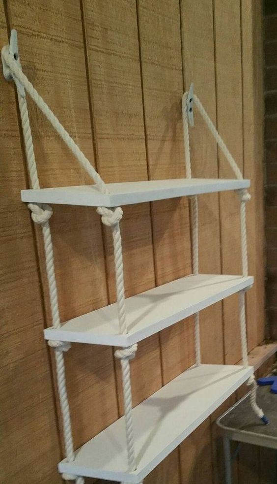 6. HANGING SHELVES WITH NAUTICAL ROPE CAN MIX RIGHT IN