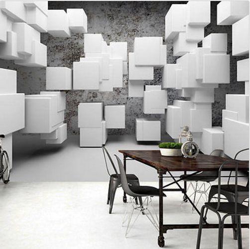 3D tapeta bílé krychle