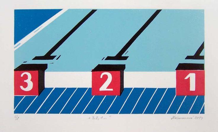 3,2,1 - linocut, 2014, Barbora Hermanova