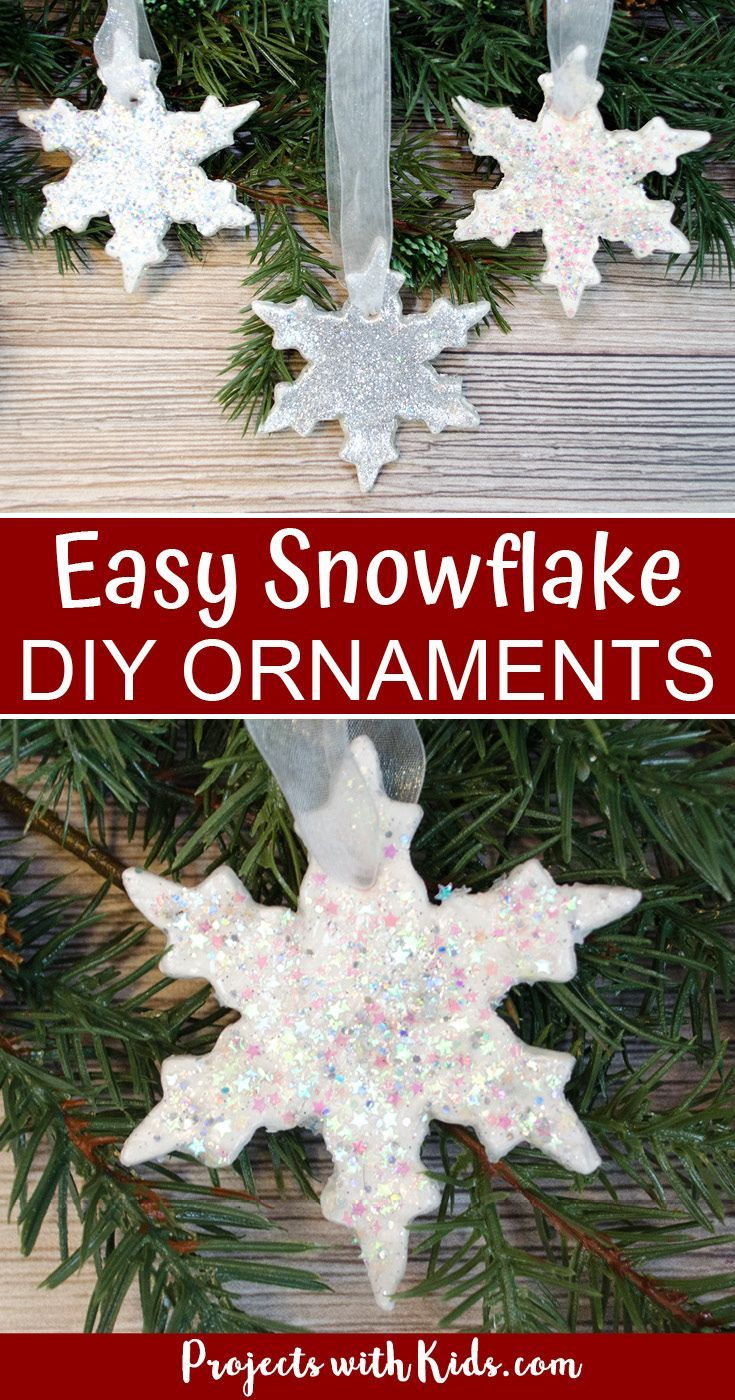 Glitter Snowflake Ornaments With Air Dry Clay Ornaments Diy Kids Christmas Tree Ornaments Christmas Ornament Crafts
