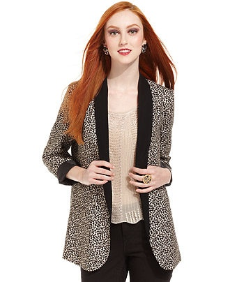 Bar III Jacket, Long-Sleeve Printed Blazer - Womens Bar III - Macy's