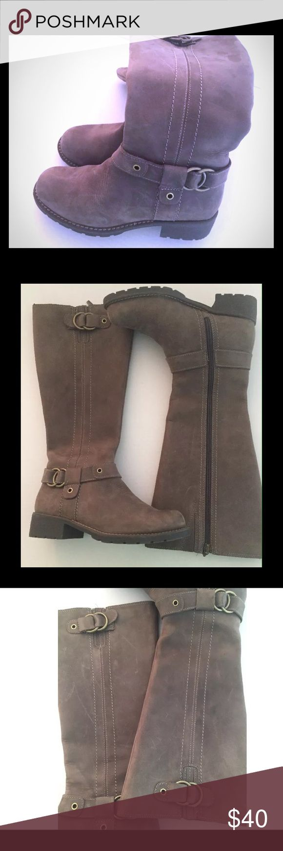 CLARKS Sz 7 Taupe Distressed Suede Riding Boots Beautiful Clarks Boots size 7 in grayish taupe color. Looks very good on bottom has some scuffs. Clarks Shoes Winter & Rain Boots