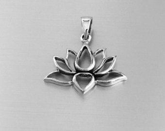 Lotus ketting Sterling Zilveren bloem ketting Lotus door SaraAndJane