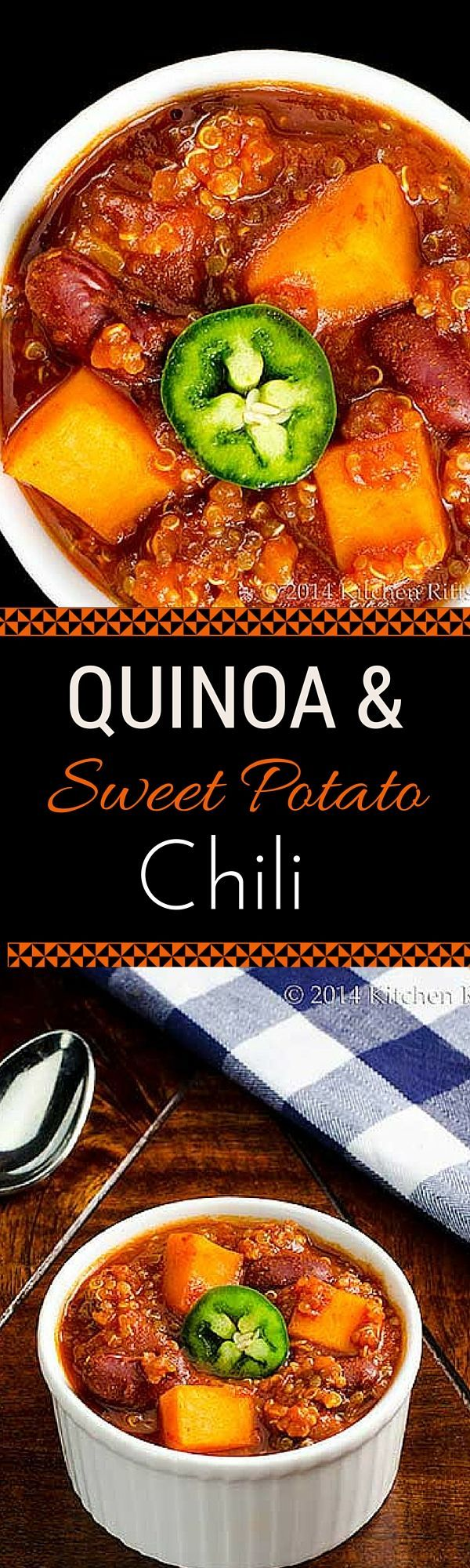 Quinoa and Sweet Potato Chili - This amazing vegan chili has all of the flavor and none of the fat of traditional chili.  You won't believe how delicious it is!