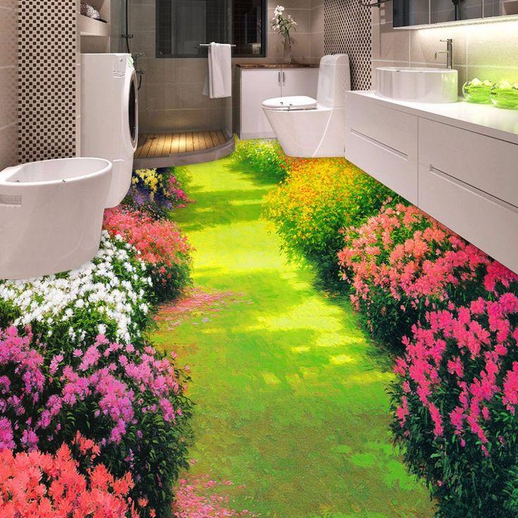 Custom 3d piso aseos baño dormitorio 3d wallpaper flores pequeña carretera piso del pvc papel tapiz mural pintura impermeable espesado(China (Mainland))