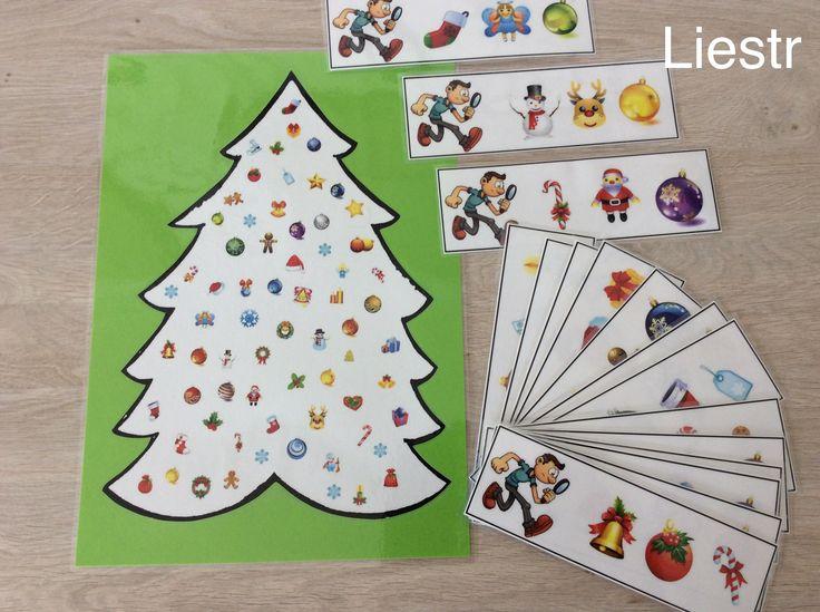 Visuele discriminatie: zoek hetzelfde figuurtje in de kerstboom. *liestr*