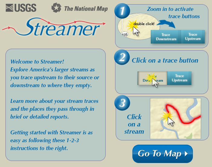 Trace streams up and down to find out where your water comes from and where it ends up. Great interactive geography lesson