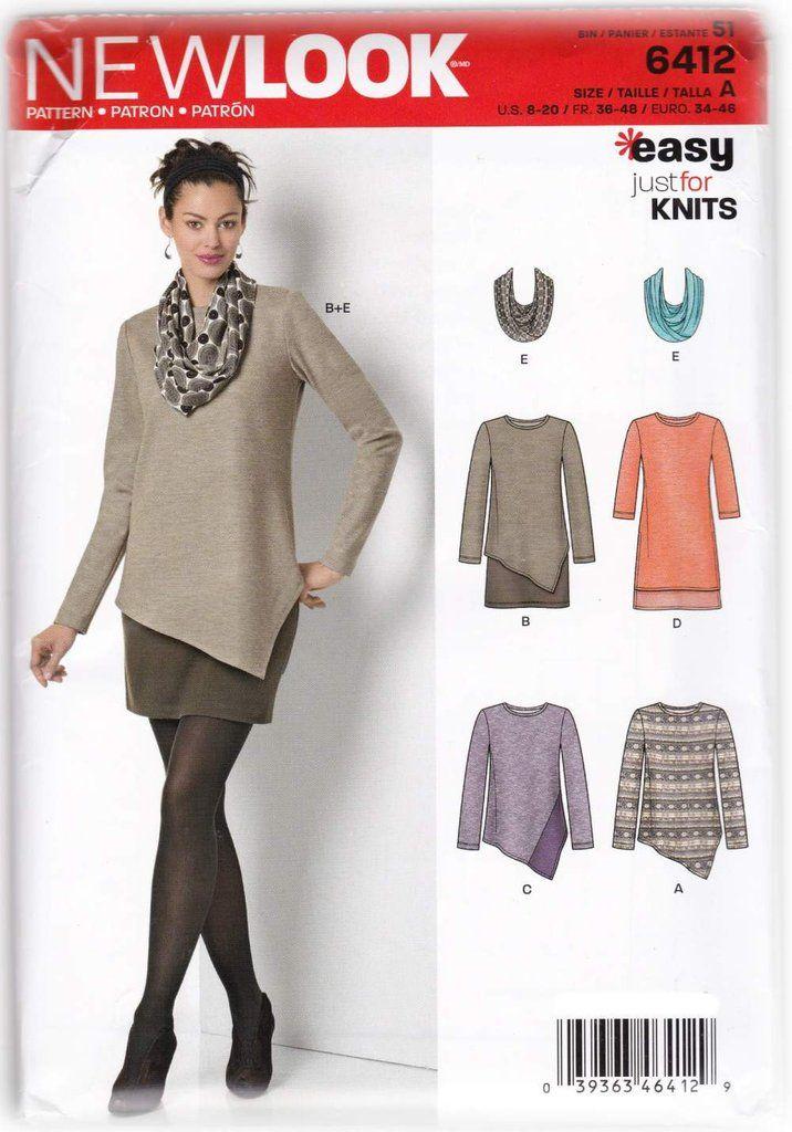 Women Tunic Dress Scarf Sewing Pattern NewLook 6412 Miss 8-20 - SewJewel