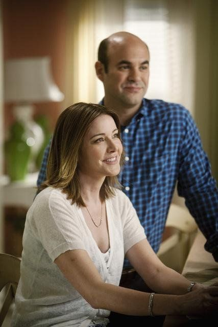 Ian Gomez and Christa Miller in Cougar Town.