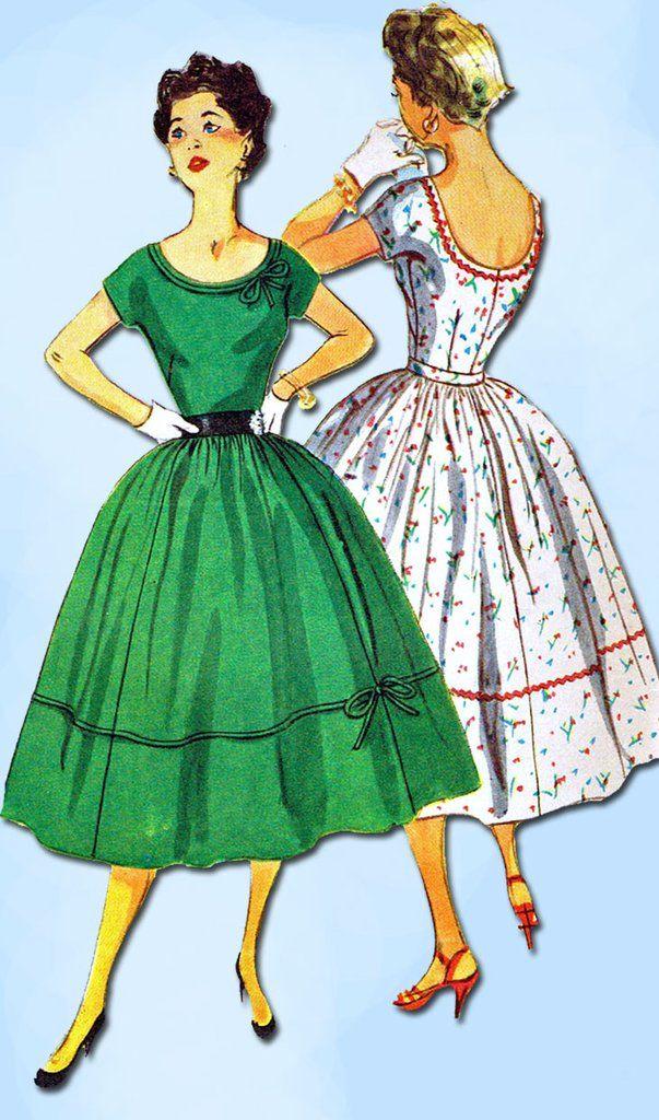 1950s Vintage Simplicity Sewing Pattern 4637 Uncut Misses Cocktail Dress Sz 11