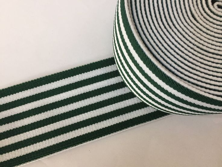2.8 - 7 cm wide  green and white striped  high quality elastic webbing, Adidas inspired, waistbelt webbing, designer webbing by NoaElastics on Etsy