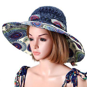 Women Foldable Hollow Beach Sun Straw Hat Large Wide Brim Flower Print Sunscreen Sun Hat at Banggood