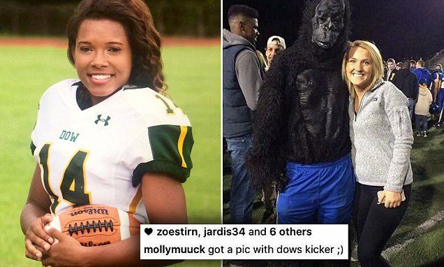 Dow High School football kicker compared to gorilla in racist Instagram post | Daily Mail Online