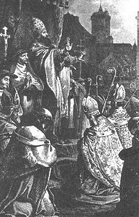 Pope Urban II preaching the First Crusade at the Council of Clermont.