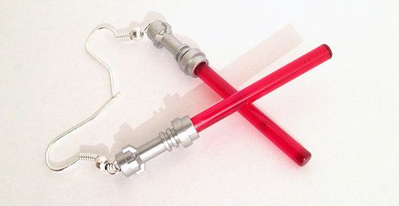 LEGO Sith Red Lightsaber hook earrings by DFXLegoMinifigs #USBMinifig