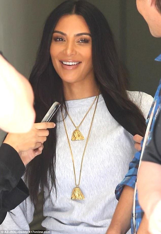Hee hee: Kim Kardashian looked to be in great spirits after filming KUWTK in LA on Tuesday