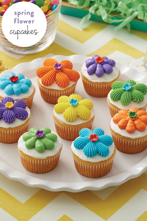How To Make Flower Power Cupcakes Spring Easter Pinterest