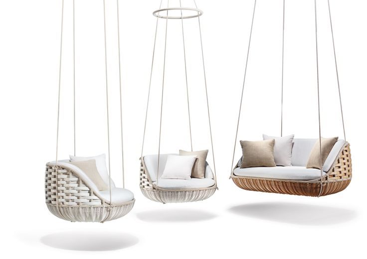DEDON launches two new, suspended, swinging seating options for the outdoors that creates the world's first floating outdoor living room system.