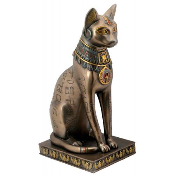 Egyptian Cat Goddess Bast or Bastet with Egyptian Symbols and Bronze Finish   Ancient Egyptian Home Decor
