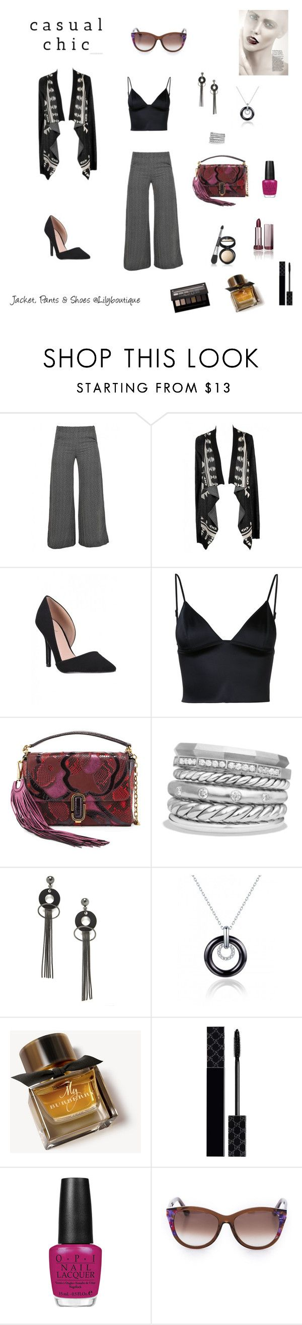 """""""Casual Chic"""" by rboowybe ❤ liked on Polyvore featuring T By Alexander Wang, Marc Jacobs, David Yurman, Jeweliq, Burberry, Gucci, COVERGIRL, OPI, Maybelline and Thierry Lasry"""