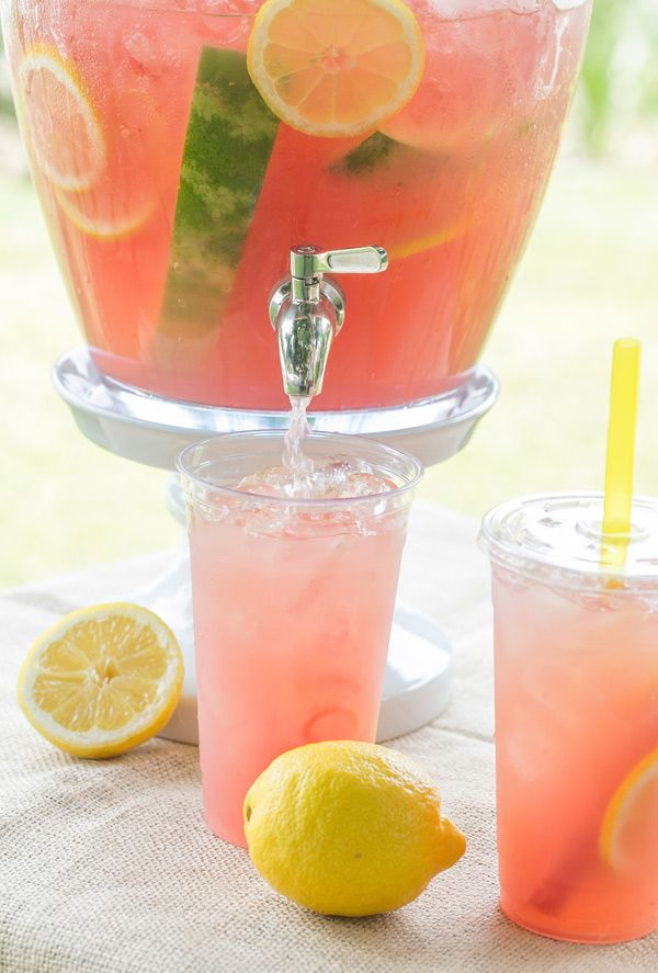 Watermelon Lemonade - The ultimate summer twist, spruced it up by adding fresh, puréed watermelon juice and whole chunks of watermelon in the drink dispenser. The result was an incredibly delicious watermelon lemonade!