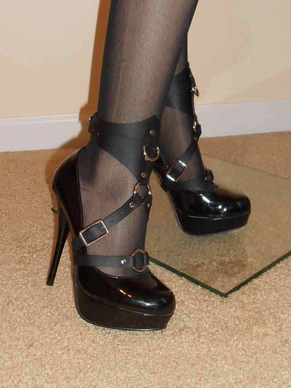 Leather Ankle Cuff/Stiletto Harness Pair by JMD21407 on Etsy