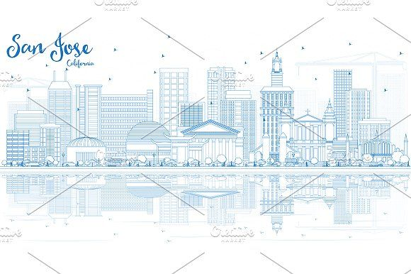#Outline #San #Jose #California #Skyline by Igor Sorokin on @creativemarket
