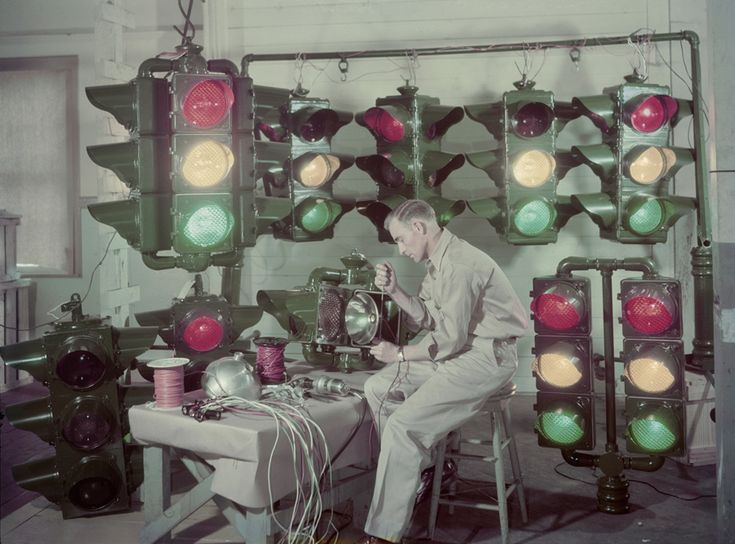 Traffic lights are made in Shreveport, Louisiana, and sent around the U.S. and abroad, December 1947.Photograph by J. Baylor Roberts, Nation...