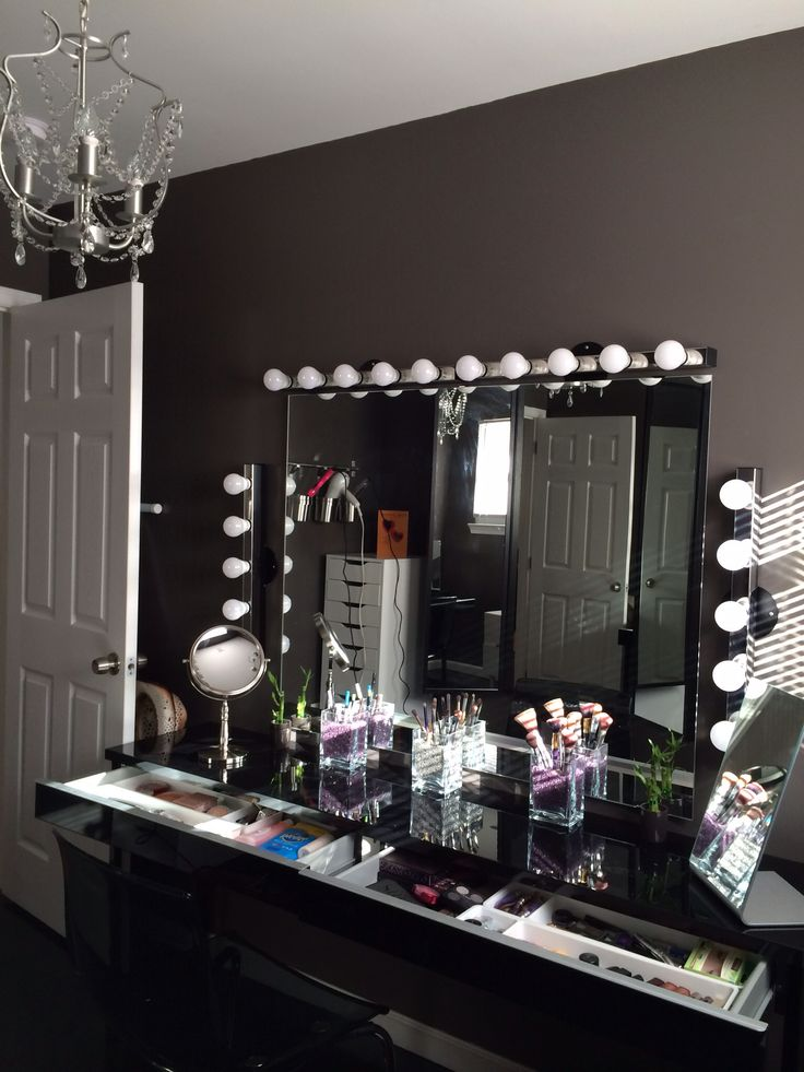 Beautiful set up not crazy about the dark walls beautiful yes impractical for makeup for Bathroom lighting for makeup application